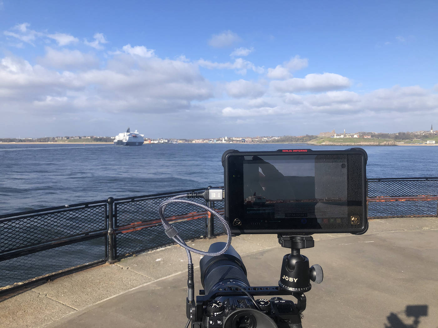 Filming the DFDS Amsterdam Ferry heading to North Shields from the mouth of the River Tyne.