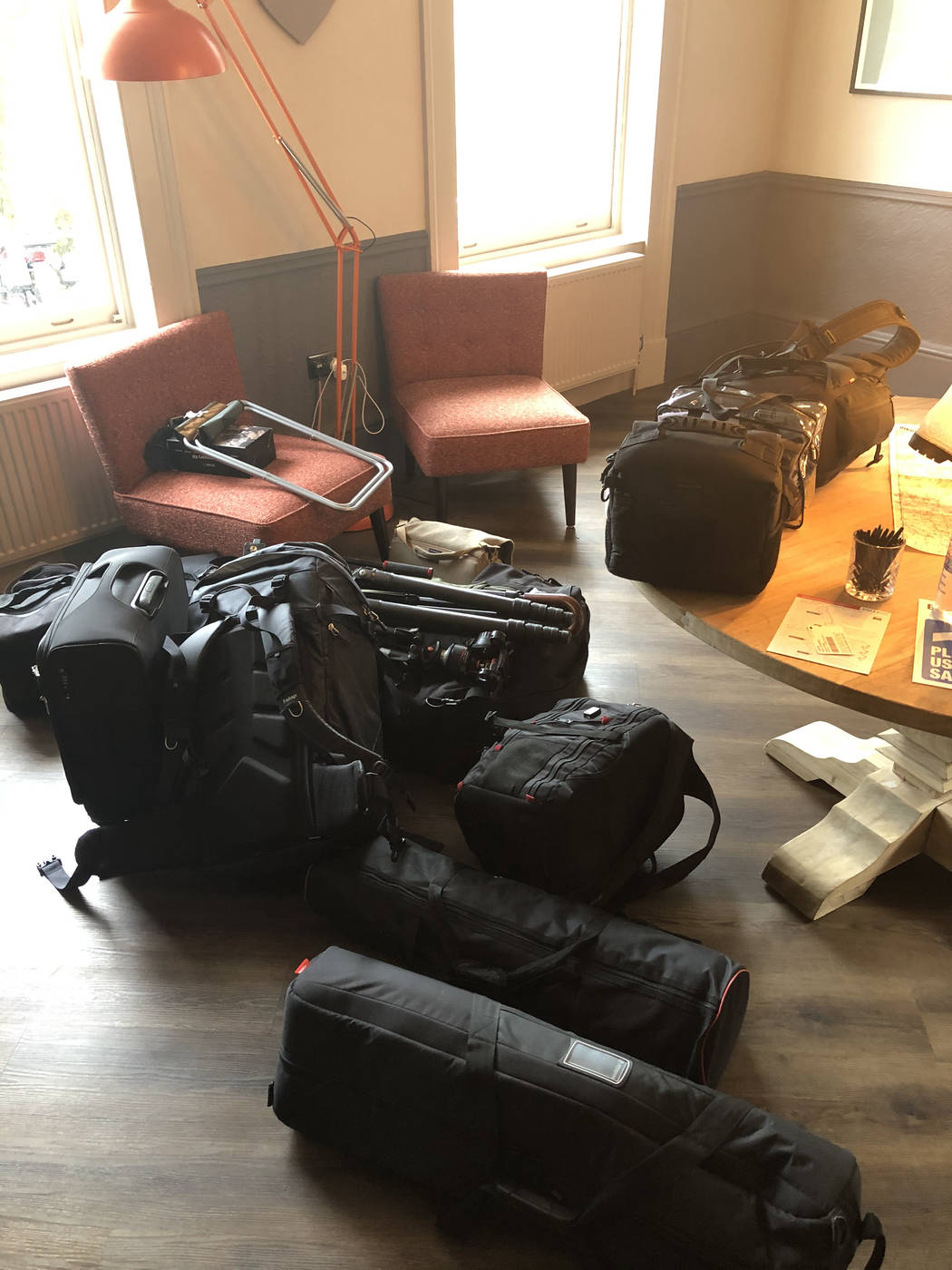 Travelling light! It takes a lot of gear to be prepared for different situations!